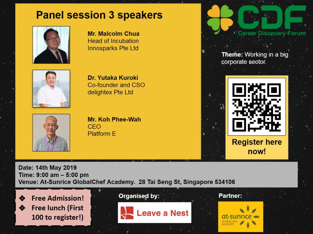Introducing the Panelists for Session 3 in Career Discovery Forum in Singapore 2019