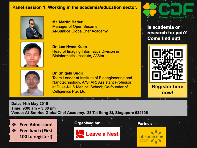 Introducing the Panelists for Session 1 in Career Discovery Forum in Singapore 2019