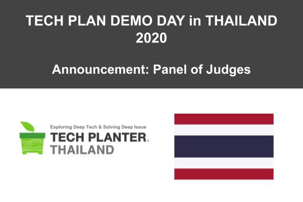 TECH PLAN DEMO DAY in THAILAND 2020 Judges Announcement