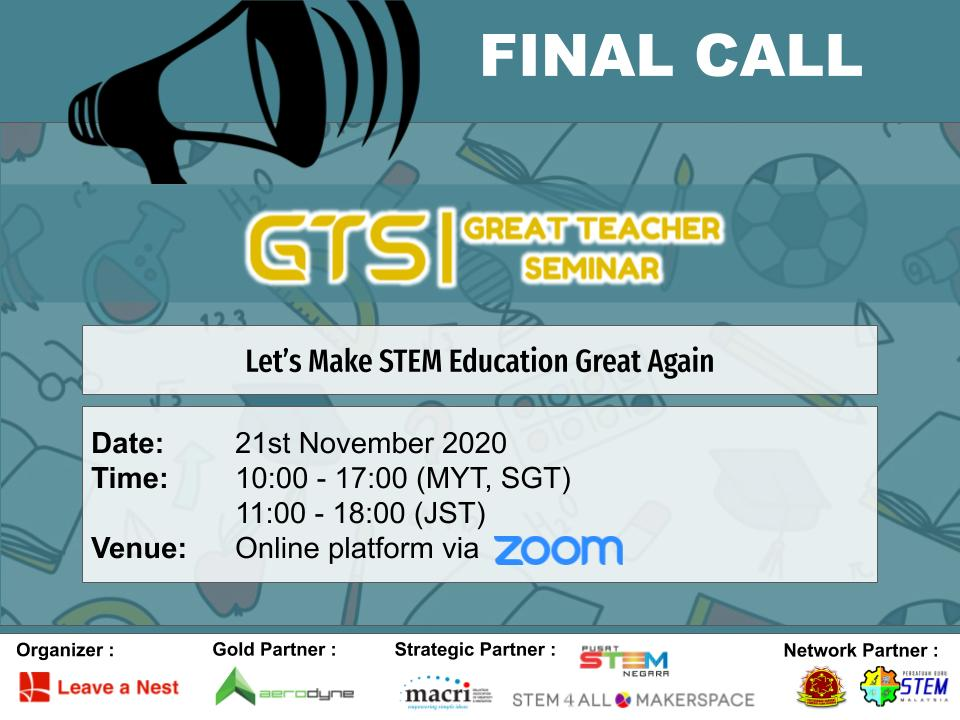 Final Call For Great Teacher Seminar 2020