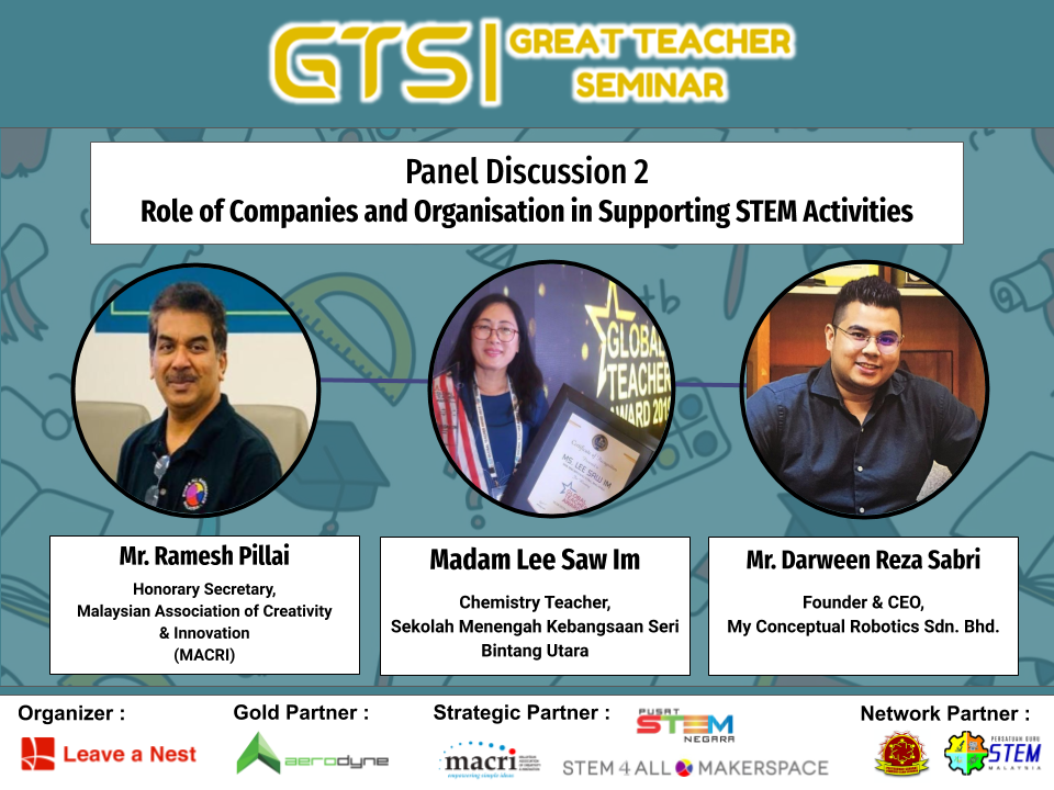 "Great Teacher Seminar 2020: Announcing Panelists for Panel Discussion 2 ""Role of Companies and Organisation in Supporting STEM Activities"""