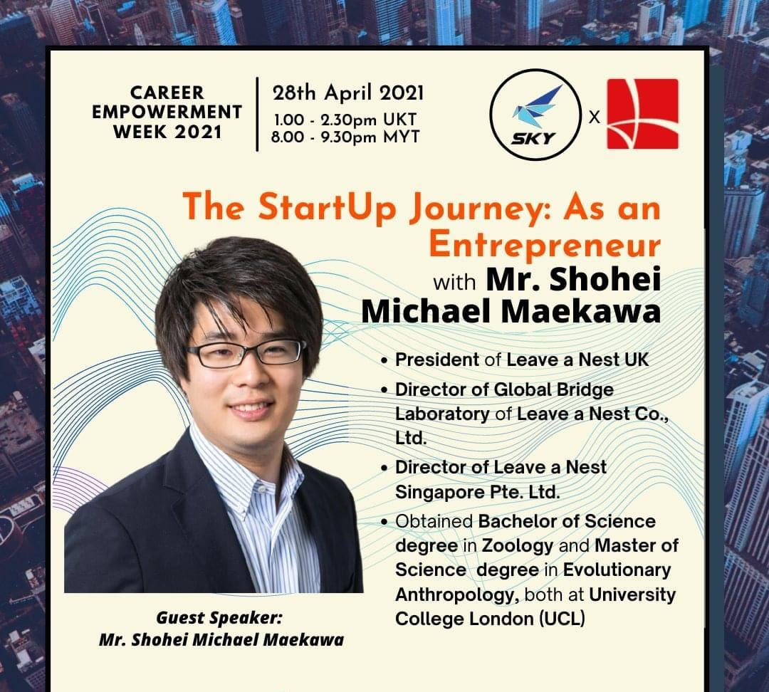 Mr. Maekawa is invited as a guest speaker at Career Empowerment Week 2021 (CEW 21) Event Organised by Skills and Career For Youth (SKY)