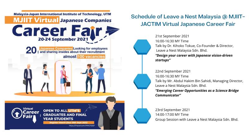 Leave a Nest Malaysia at MJIIT-JACTIM Virtual Japanese Companies Career Fair 2021
